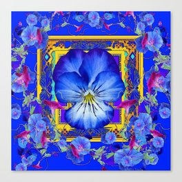 DECORATIVE BLUE PANSY & VINING  MORNING GLORIES Canvas Print
