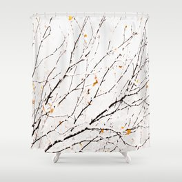 Snowy birch twigs and leaves #society6 #decor #buyart Shower Curtain