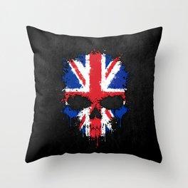 Union Jack Flag on a Chaotic Splatter Skull Throw Pillow