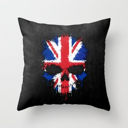 Union Jack Flag on a Chaotic Splatter Skull Throw Pillow