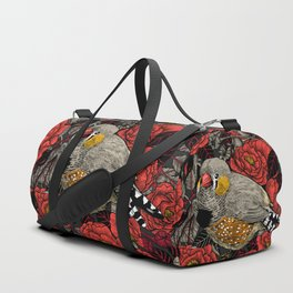 Zebra finch and red rose bush Duffle Bag