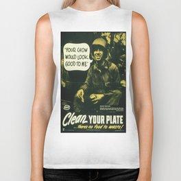 Vintage poster - Clean your plate Biker Tank