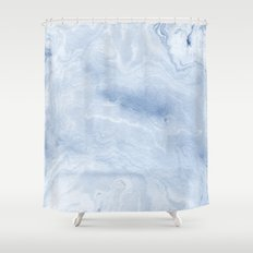 Yasuko - spilled ink japanese monoprint marble paper cell phone case with marble pattern blue pastel Shower Curtain