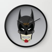 superheros Wall Clocks featuring Bat-Man Sugar Skull by Clark Street Press
