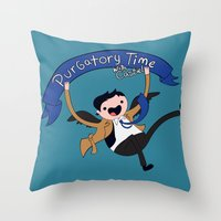 castiel Throw Pillows featuring Castiel by Charleighkat