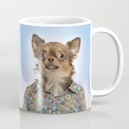 Dog wearing a floral shirt Coffee Mug