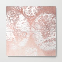 Rose Gold Pink Antique World Map by Nature Magick Metal Print