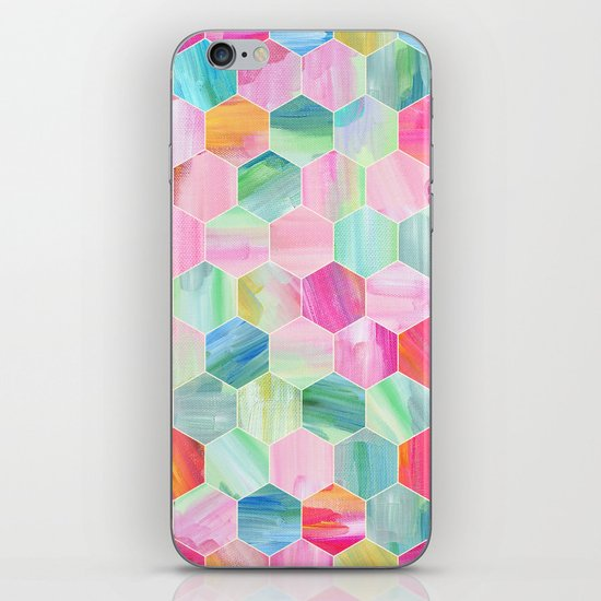 Pretty Pastel Hexagon Pattern in Oil Paint iPhone & iPod Skin