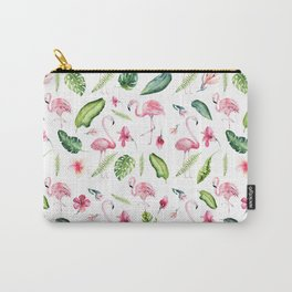 Pink green watercolor tropical hand painted flamingo Carry-All Pouch
