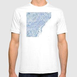 Barcelona Blueprint Watercolor City Map T-shirt