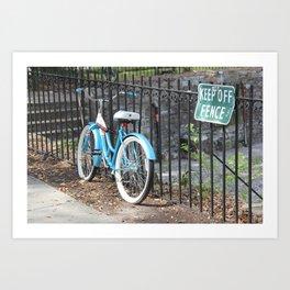 Bicycle Keep off Fence Art Print