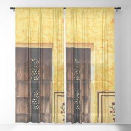 Antique door in India - Bright yellow marigold wall Sheer Curtain
