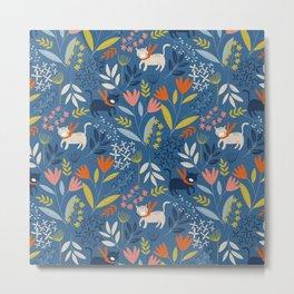 Cats & Flora Metal Print