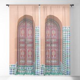 Moroccan Tile Mosaic Door in Marrakech, Morocco Sheer Curtain