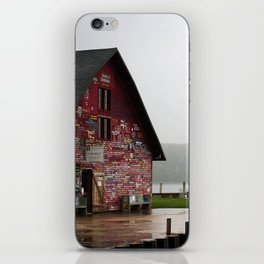 A Man by a Painted Shed on a Misty Day iPhone Skin