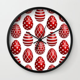 Happy red Easter eggs Wall Clock
