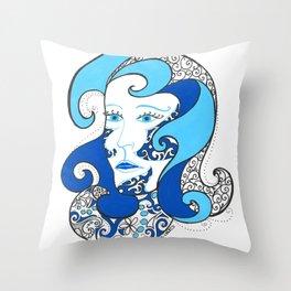 MISS OCEAN Throw Pillow