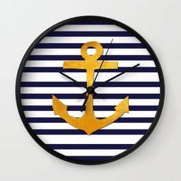 Marine pattern- blue white striped with golden anchor Wall Clock