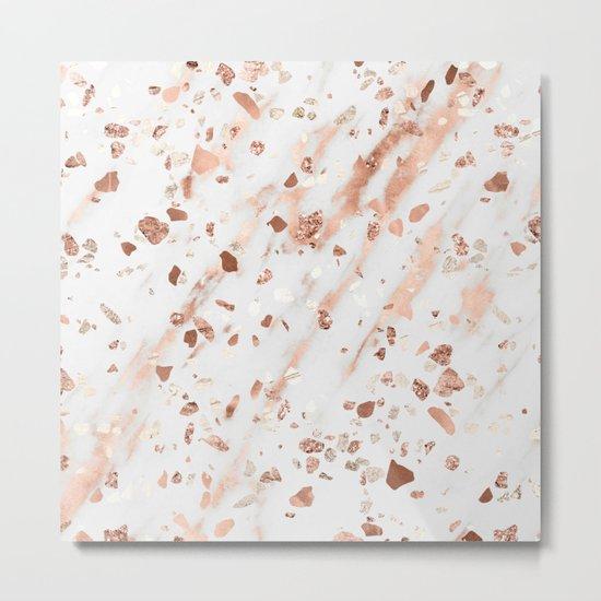 Pink Quartz Terrazzo + Rose Gold Marble Metal Print