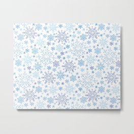Blue snowflake doodle pattern Metal Print