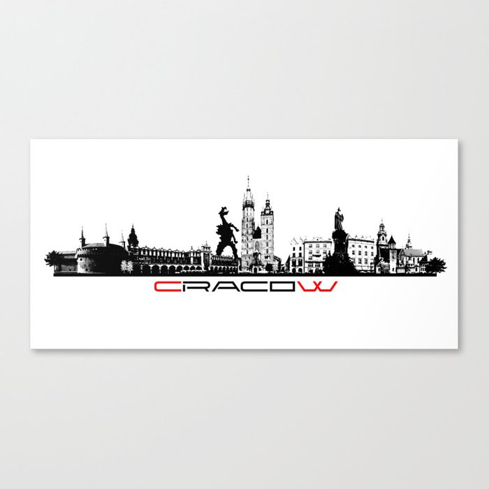 Cracow skyline black Canvas Print