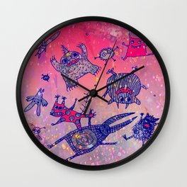 levitating monsters Wall Clock