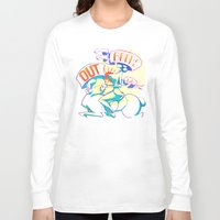 boobs Long Sleeve T-shirts featuring Boobs Out, Dudes by DinoFlamingo