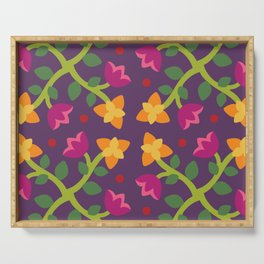 Baltimore Woods Floral Cross Pattern Serving Tray