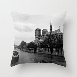 Notre Dame de Paris View from Seine River Paris Throw Pillow