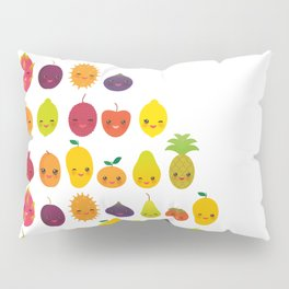 numbers for preschool kindergarten kids kawaii fruit from one to ten Pillow Sham