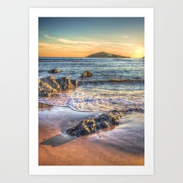 Sunset over Burgh Island from Bantham Art Print