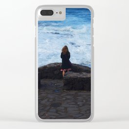 Ocean lover, meditation in front of the sea Clear iPhone Case