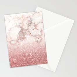 Elegant Faux Rose Gold Glitter White Marble Ombre Stationery Cards