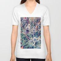 shabby chic V-neck T-shirts featuring Exotic Garden, shabby chic flowers, modern home decor by Scarlett Ella