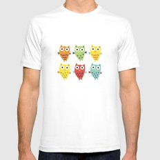 Owl Fun MEDIUM White Mens Fitted Tee