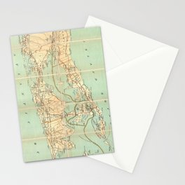 Vintage Road Map of Long Island (1905) Stationery Cards