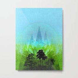TREES under MAGIC MOUNTAINS V-HF-GREEN Metal Print