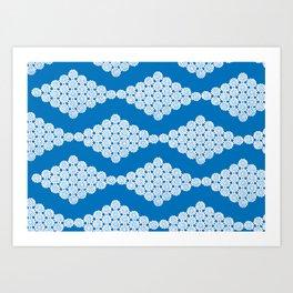 Doily pattern - blue Art Print