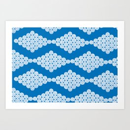Doily pattern - blue Art Print
