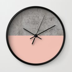 Pale Pink on Concrete Wall Clock