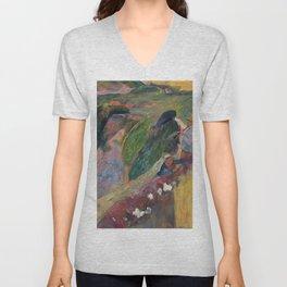 1889 - Gauguin -  The Flageolet Player on the Cliff Unisex V-Neck