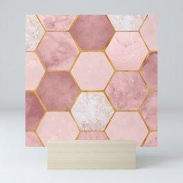 Pink and Gold Hexagon Print Mini Art Print