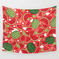 watermelon Wall Tapestries featuring Watermelon by Ornaart