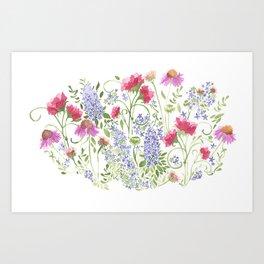 Flowering Meadow - Watercolor Art Print