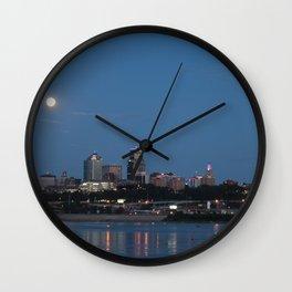 Full Moon over Kansas City Wall Clock