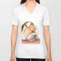 english bulldog V-neck T-shirts featuring English bulldog Alfie by Pendientera