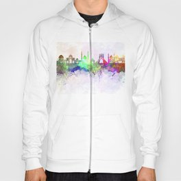 Tehran skyline in watercolor background Hoody