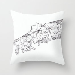 Leaning bloom Throw Pillow