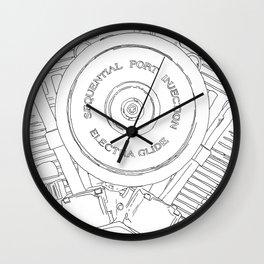 cycle detail, motor, drawing Wall Clock