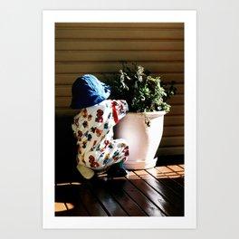 Ben and flowerpot Art Print